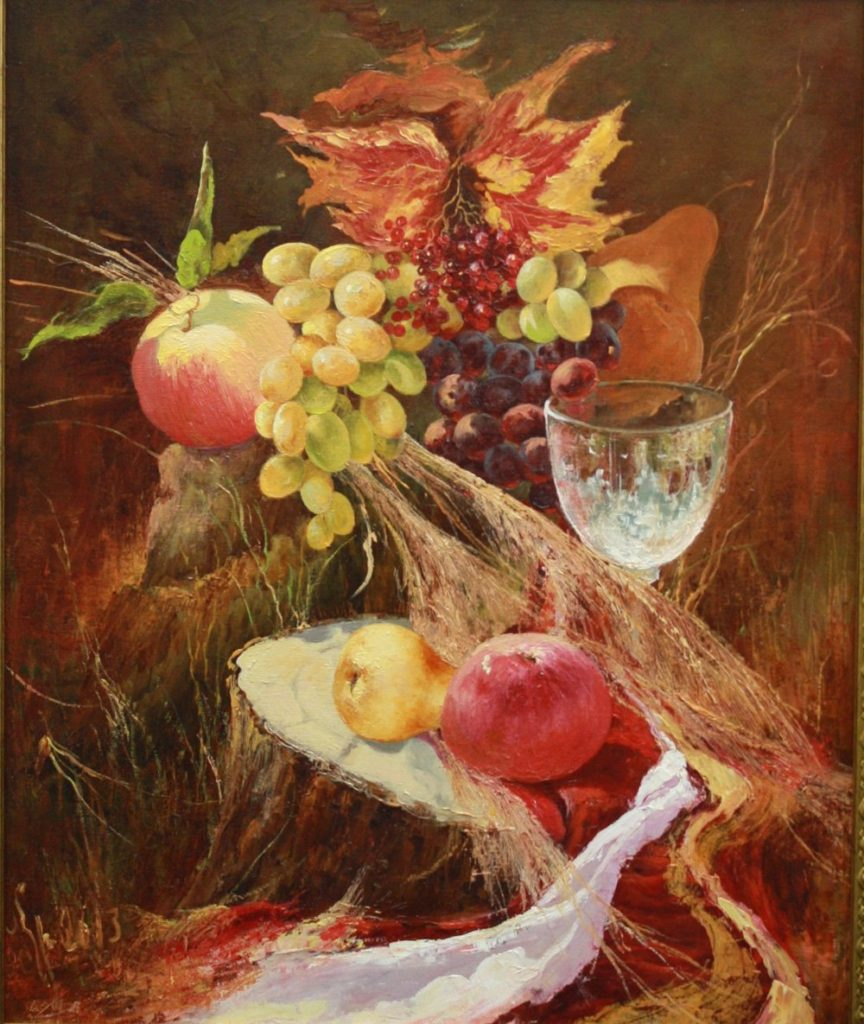 Still life painted pears