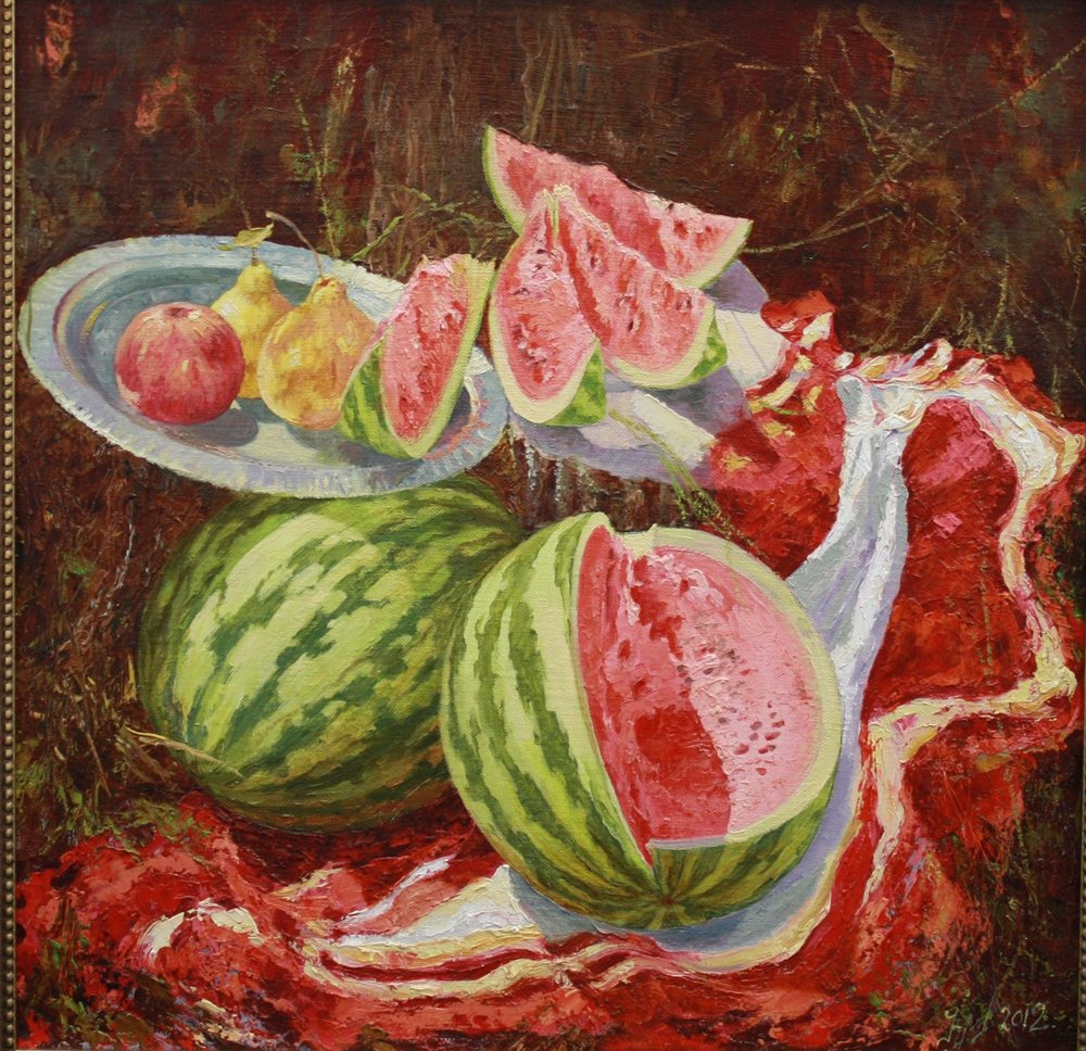 Still life painted watermelon