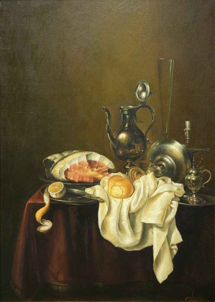 "A copy from C. Heda. ""Still life with ham"""