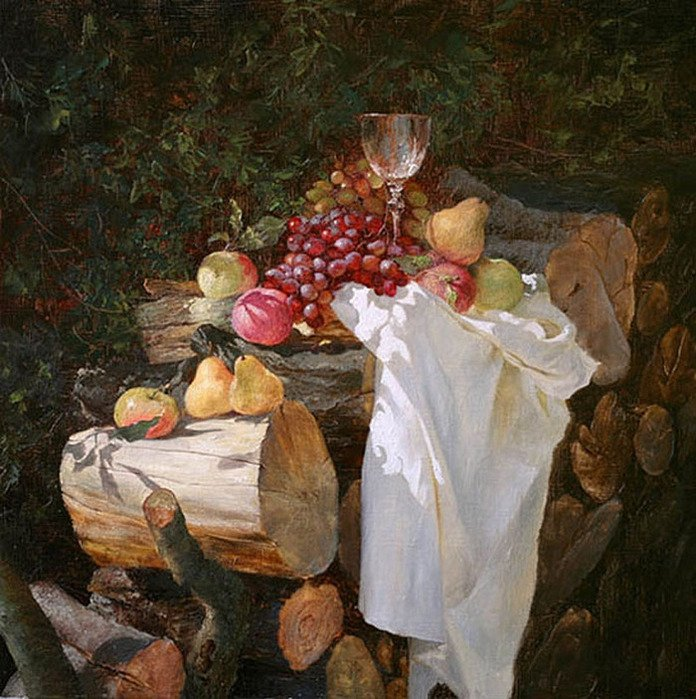 Still life painted log