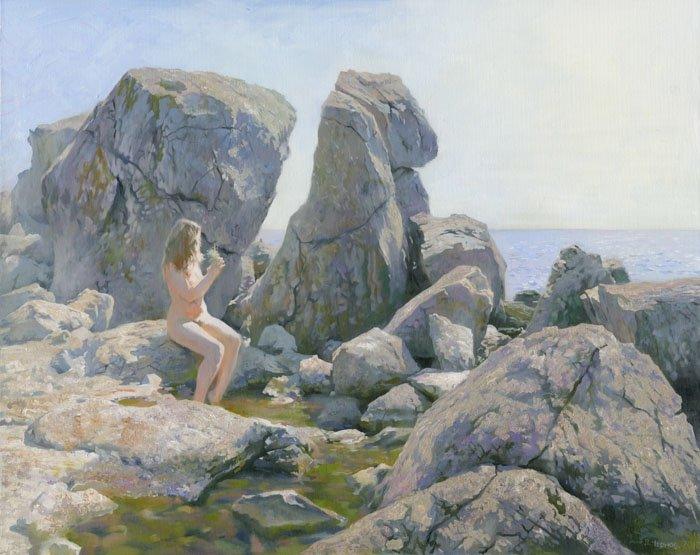 Spring on a stone beach