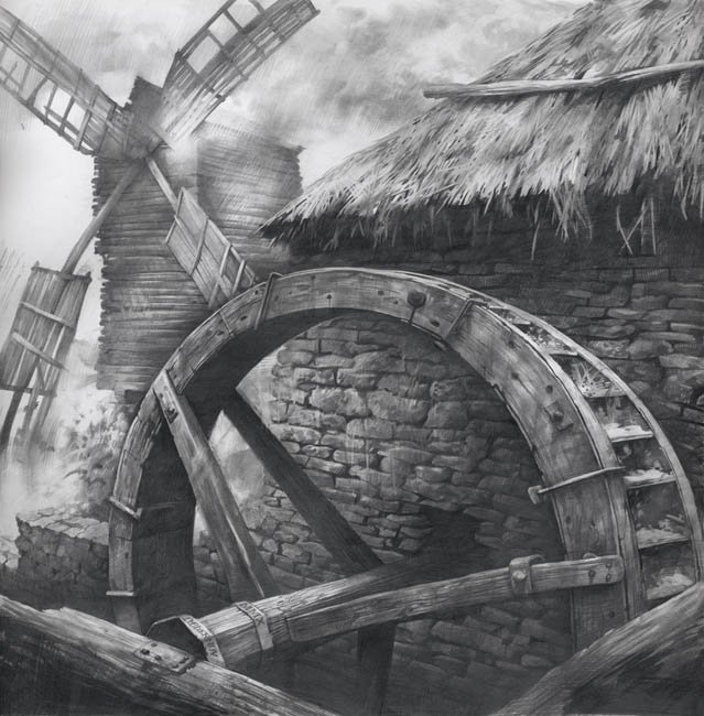 Windmill and water mill