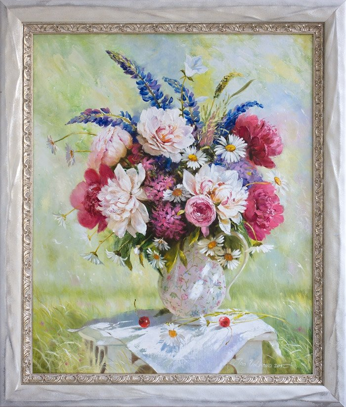 Spring bouquet with peonies and lupine