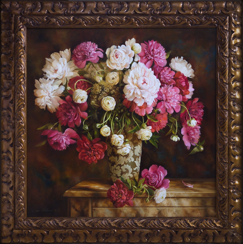 Large bouquet of peonies in a decorative vase