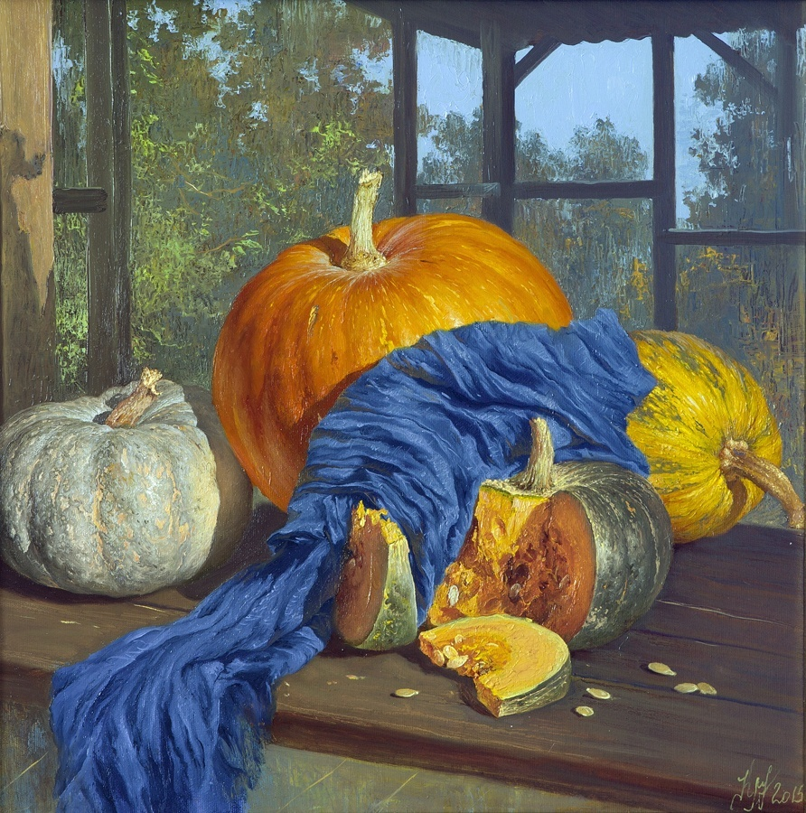 Pumpkins with blue